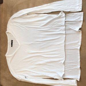 Rag & Bone/jean white LS rayon split hem shirt XS